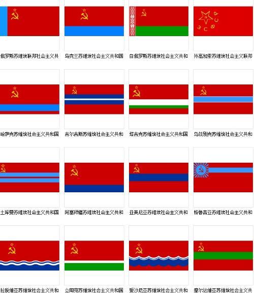 苏联各社会主义加盟共和国国旗图片