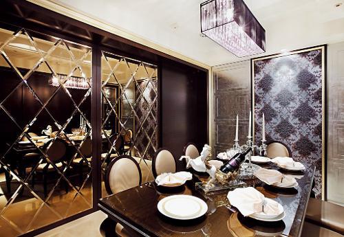 餐厅瓷砖背景墙; 餐桌装修效果图441; 装修效果图   红白相间很甜美浪