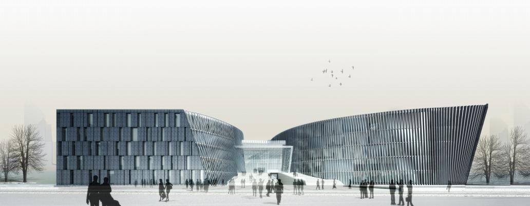 南京大学仙林校区地标性建筑/景观有: 杜厦图书馆 [3] 杜厦图书馆地