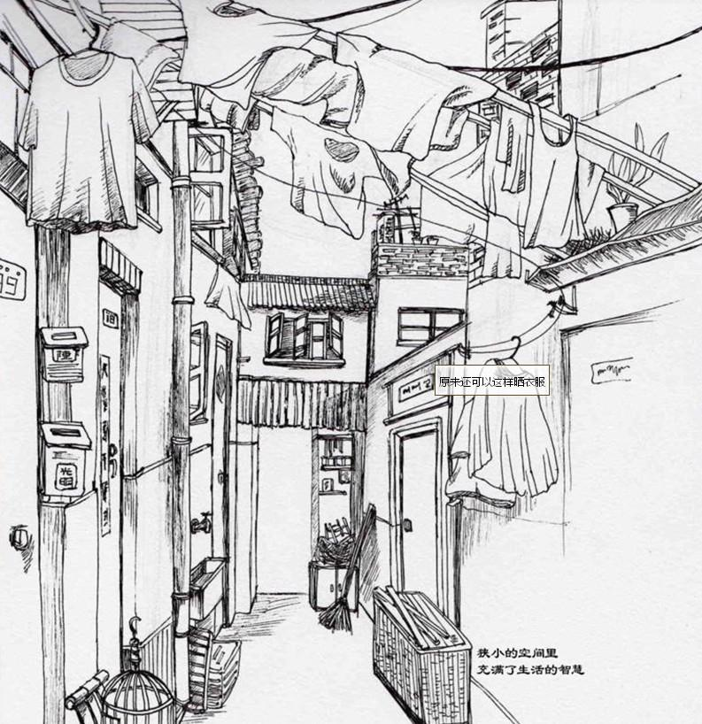 一点透视手绘图 街景线稿