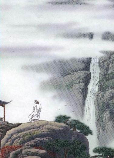 《望庐山瀑布》写意画