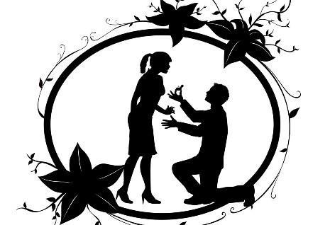 求婚手绘简约图