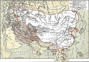 14世纪元朝与四大汗国总疆域的地图图片