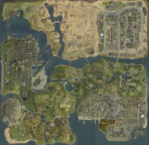 《圣安地列斯》卫星地图