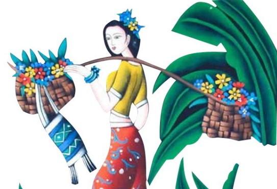 傣族女孩儿童画简笔画