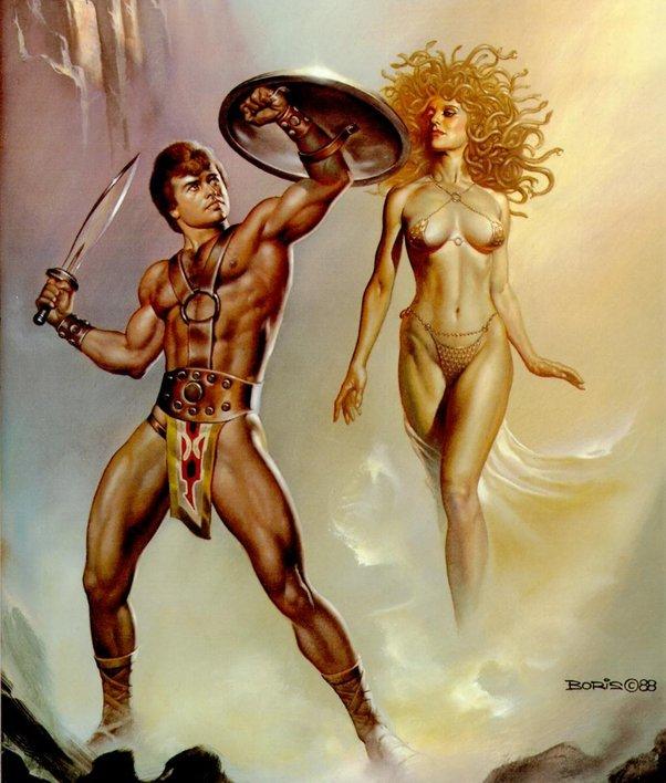 希腊神话的英雄柏修斯和女妖美杜莎图片