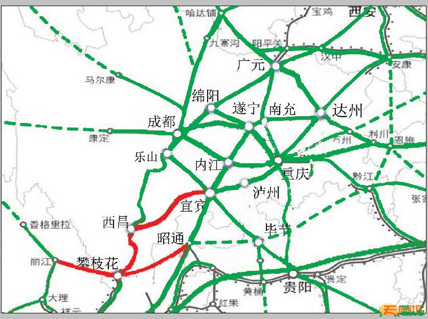 主要铁路线:成昆线,成昆线渡口支线(攀枝花至格里坪),规划攀枝花到