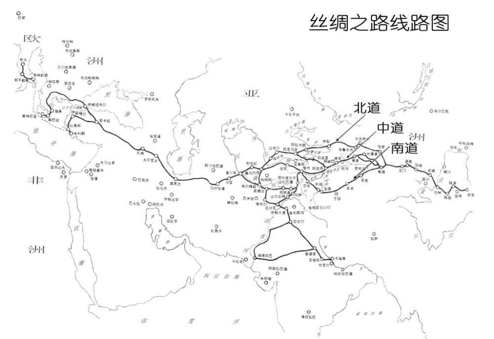 丝绸之路线路图