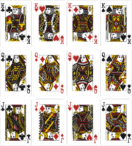 直到今天还有很多扑克牌沿用这种名称:   黑桃 红桃 方片 梅花 jqkk