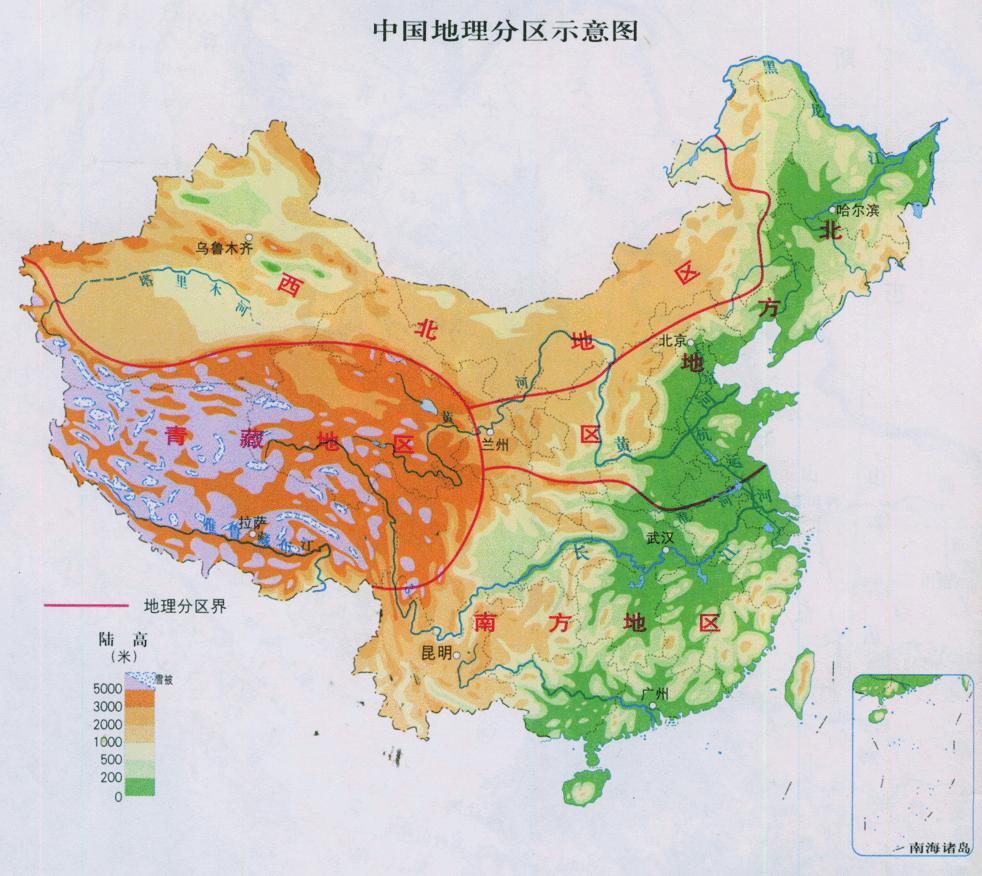 中国地理分区示意图