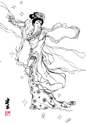 古代手绘蓝衣仙女图像