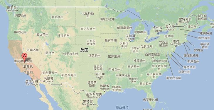 加州的地理位置