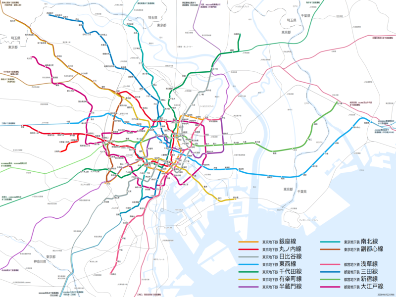 東京地鐵線路圖圖片