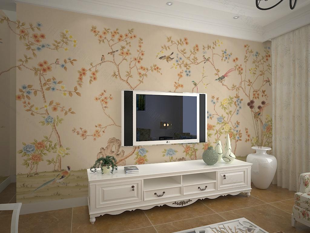 手绘墙纸 客厅花鸟画