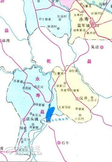 东临漆 水河与仪井镇和乾县石牛乡相望;西南部与扶风县天度乡接壤,北