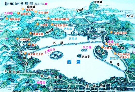 西湖全景手绘地图