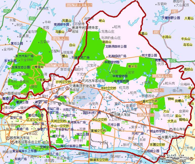 广州东山手绘地图