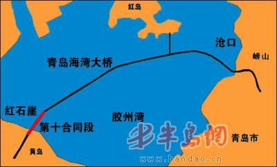 青岛海湾大桥示意图
