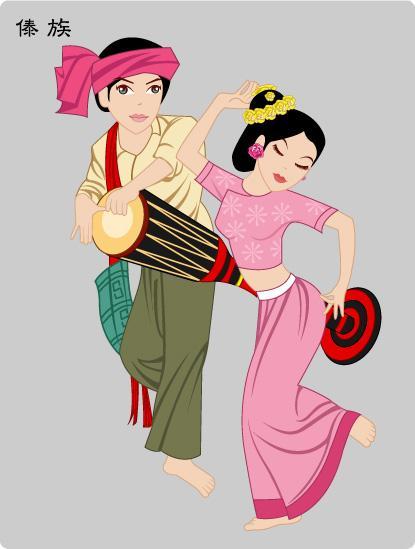 傣族服饰卡通