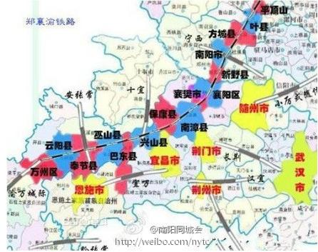 蒙西至华中铁路:乌审旗—延安市—韩城市—河津市—运城市—三门峡市