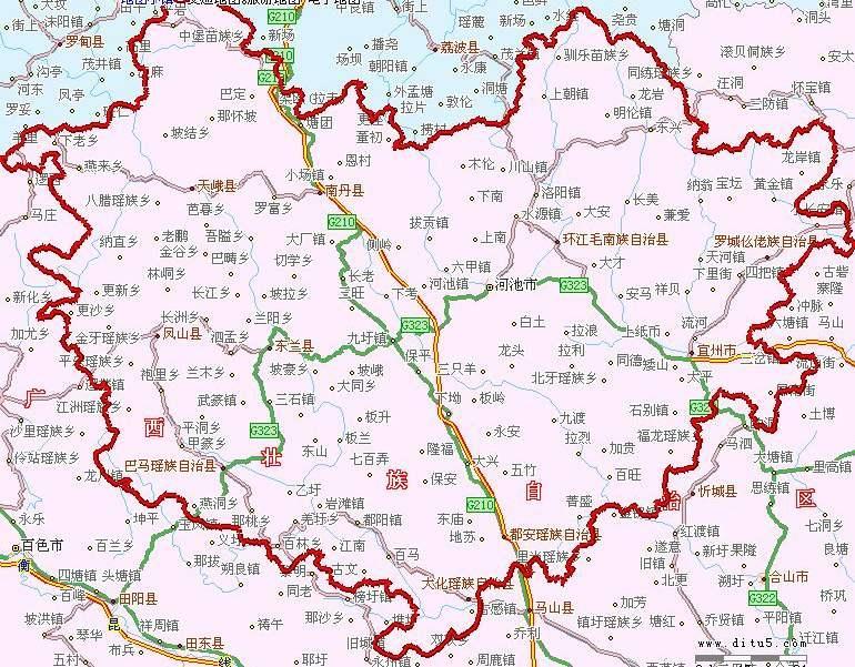 广西河池市区地图