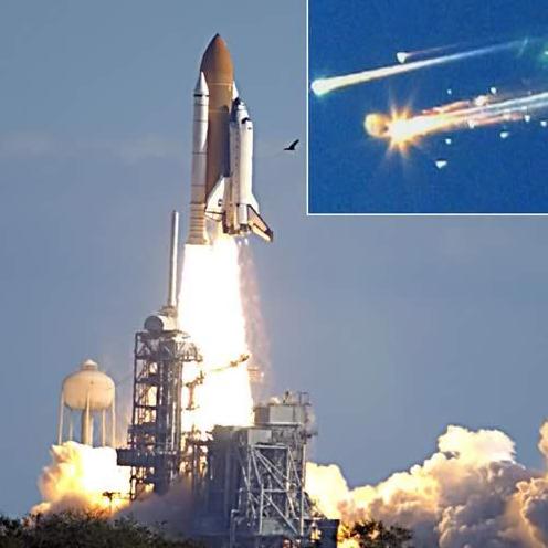 """美国""""哥伦比亚""""号航天飞机发射后不久燃料箱外脱落的"""