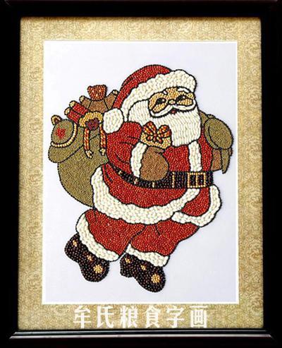 牟水元粮食画《圣诞老人》作品