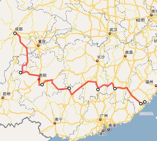 厦蓉高速公路线路