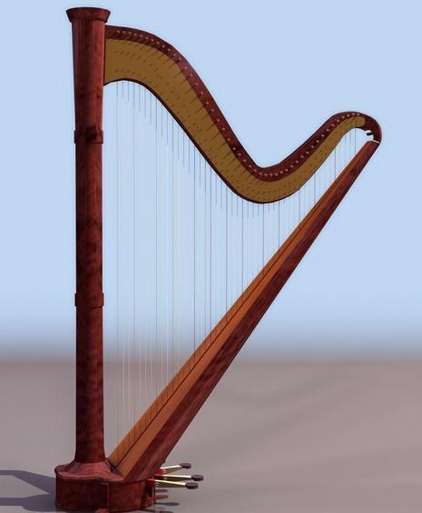古希腊和古罗马称为里拉琴,中国又有一种称之为箜篌的竖琴.图片