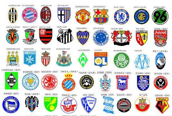 足球球队标志和名字_求世界足球俱乐部的标志-世界著名足球队标志