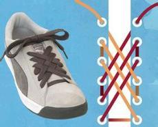 花式系鞋带是指十字交叉结,梯形结,麻花结,双直结,斜线结等系鞋带的图片