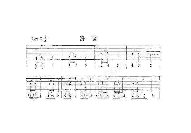 五线谱滑音符号