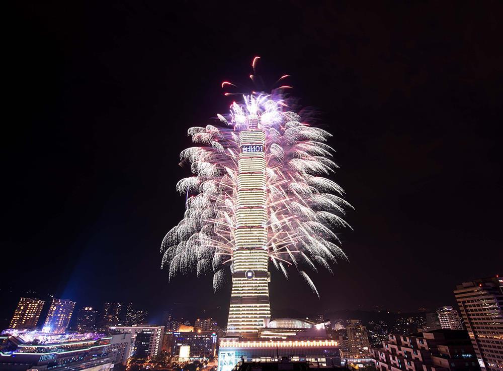 台北101跨年烟火表演,是位於台湾台北信义区的台北101大楼自2004年末图片