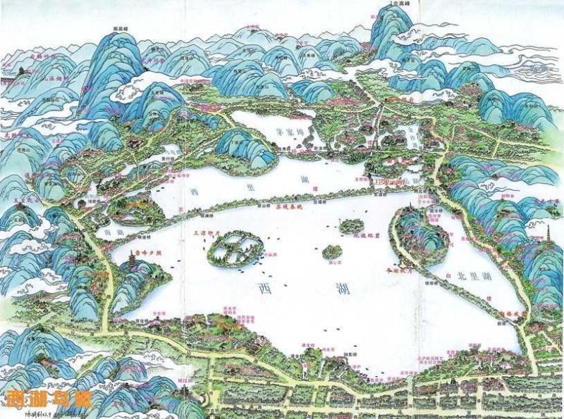 意杭州手绘地图