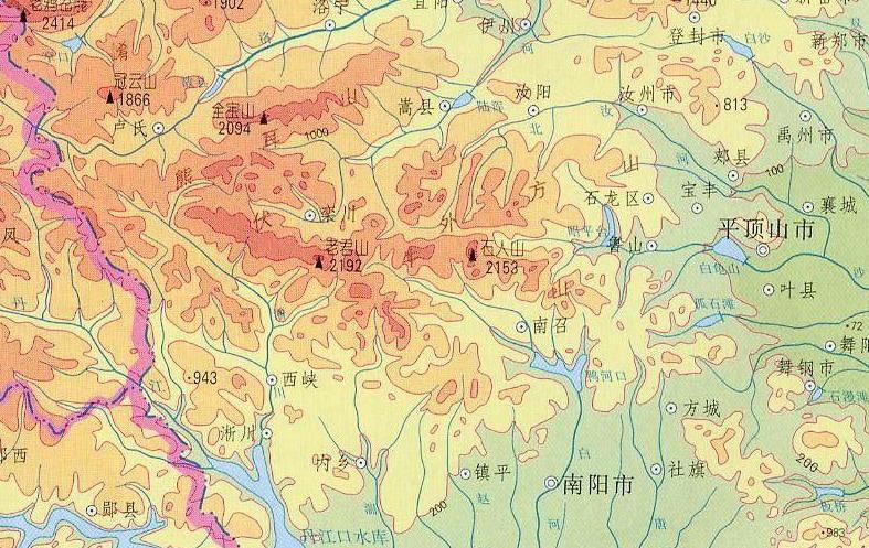 伏牛山脉是秦岭延伸到河南省的一条重要山脉,西北— 东南走向,长200余