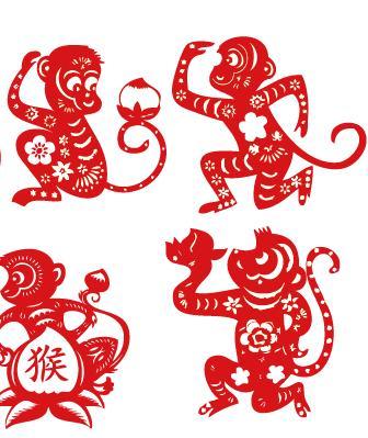 大红色抱桃子小猴剪纸图片