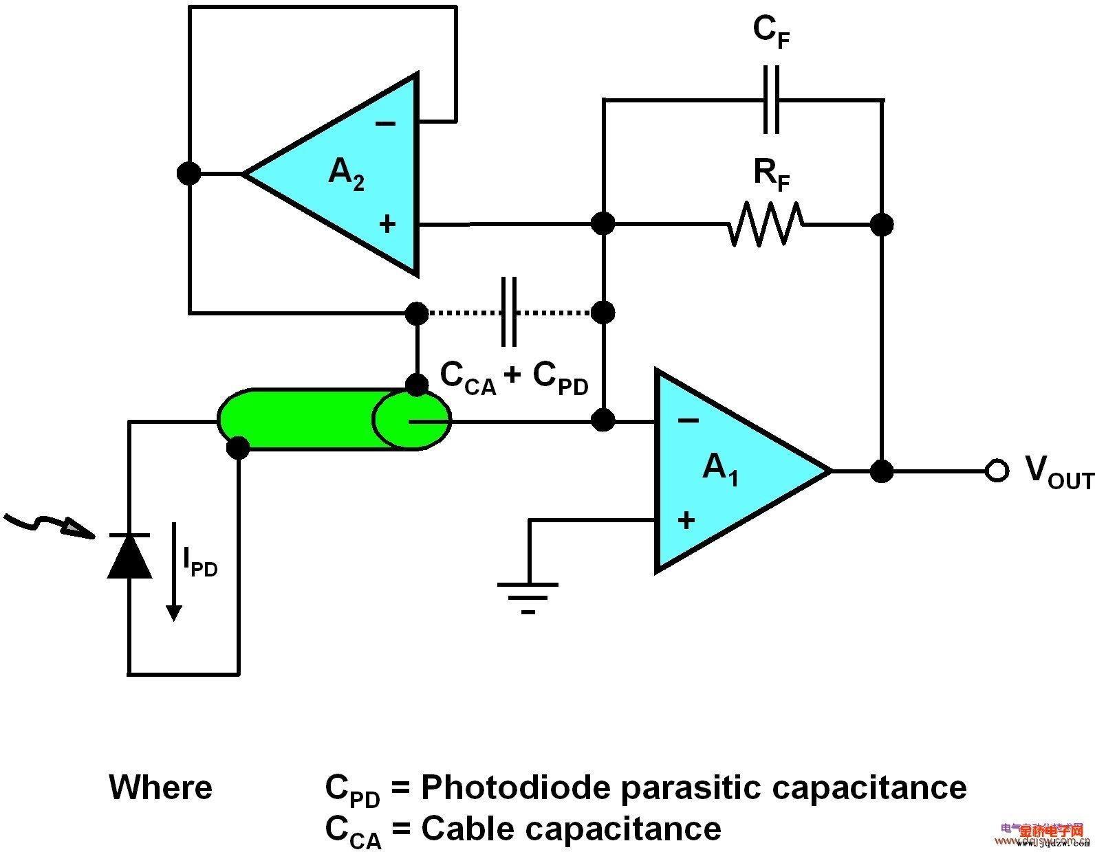 光电二极管降低噪声原理图
