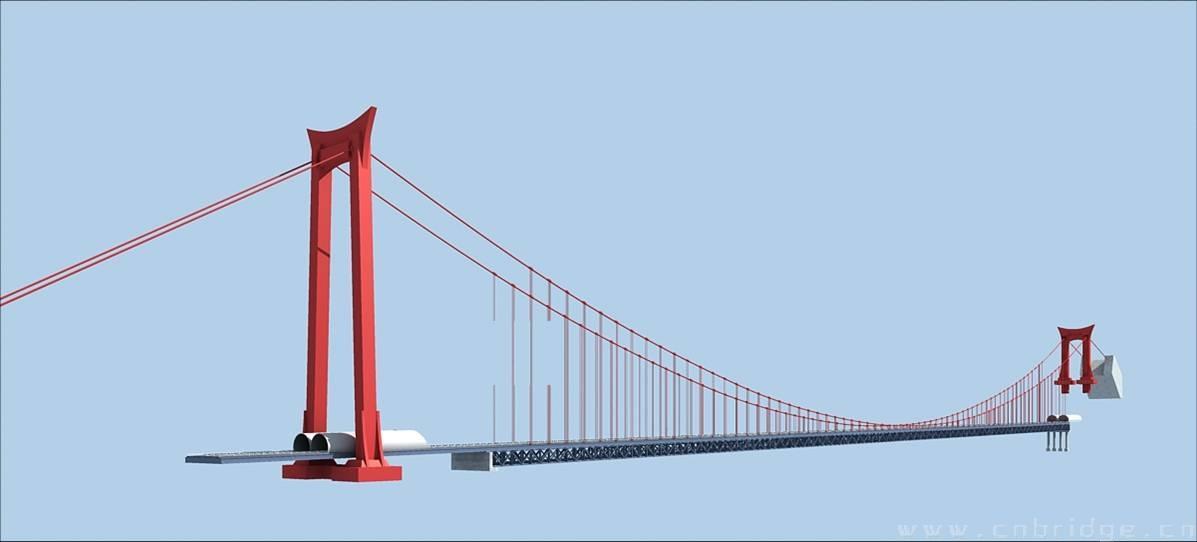 矮寨大桥结构示意图