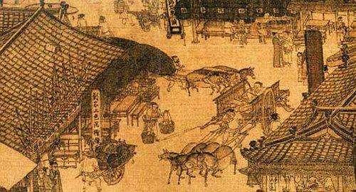 宋朝建筑手绘墙面绘画