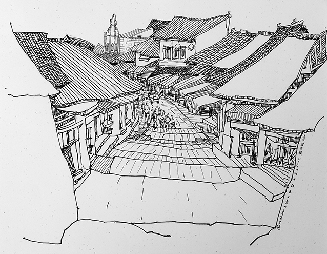 钦贵州苗寨风情速写作品