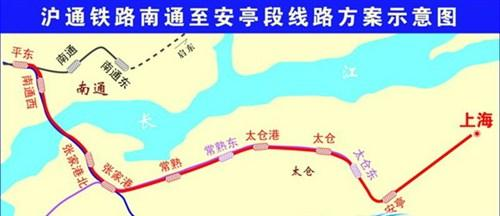 沪通铁路南通至安亭段线路方案示意图