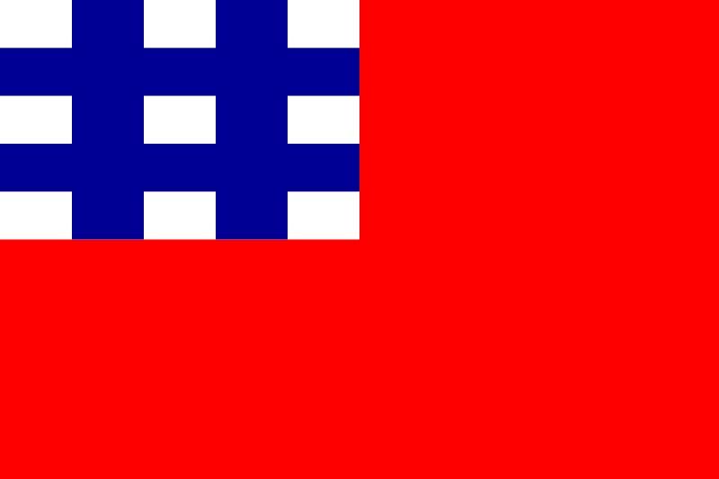 设计方案之一方白井蓝满地红井字旗