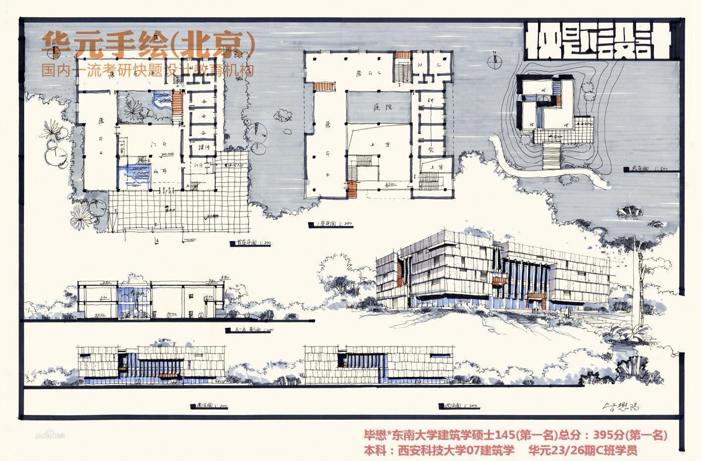 分为建筑快题,城市规划快题,景观或风景园林快题,室内设计快题,工业