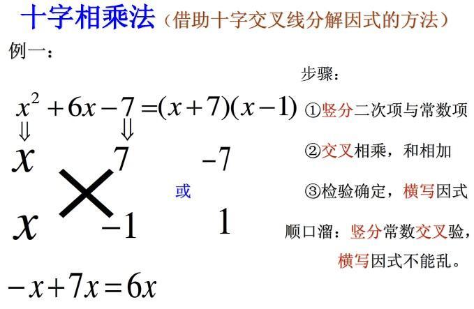 双十字相乘法10.二次多项式11.提公因式法