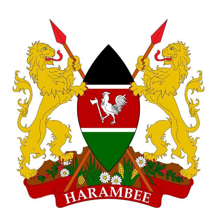 1963年制定的肯尼亚国徽以一枚与国旗色彩一致的梭形盾徽为中心,两侧图片