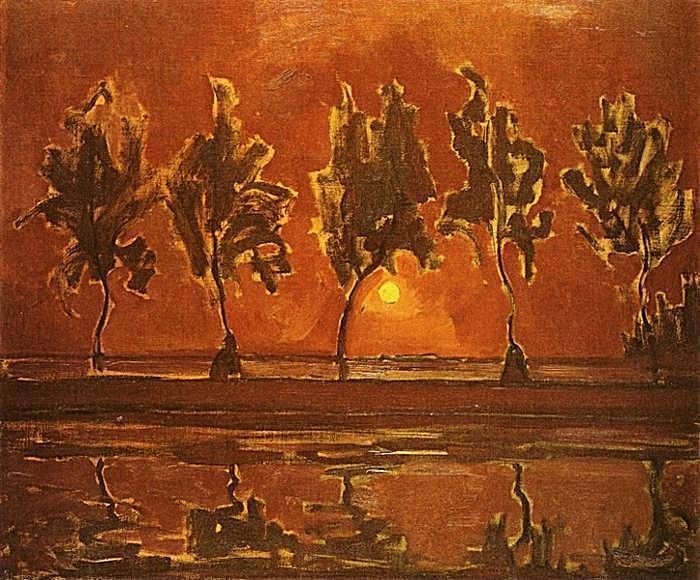 冷抽象绘画-蒙德里安作品