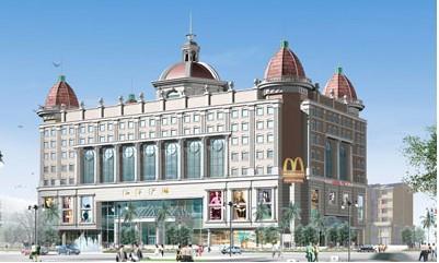 广场规划设计采用欧式的建筑风格,尽显典雅和俊朗,有强烈的商业气息.