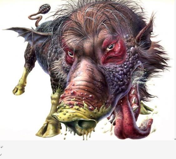 """"""" 外貌形态 赤眼猪妖身躯十分庞大,猪头狗身,通身黑色毛发,带硬刺"""