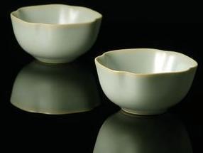 汝瓷菱式方杯