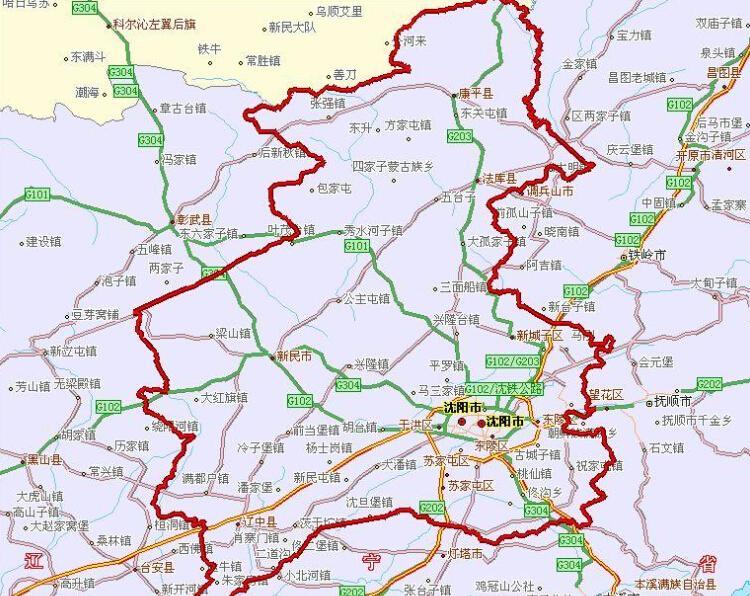 辽宁省沈阳市地图